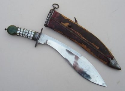 KUKRI BLADED DAGGER Green soapstone Mother of Pearl