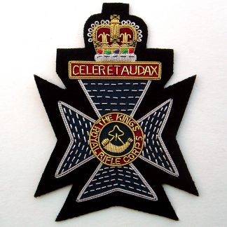 The King's Royal Rifle Corps bullion wire embroidered blazer badge.