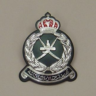 OMAN POLICE CAP BADGE, Chrome on black backing
