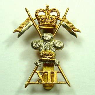 12th LANCERS - Queens crown bi-metal Cap Badge