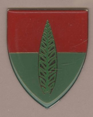 10th ARTILLERY AIR DEFENCE SCHOOL - gold leaf on half red, half green background