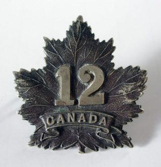 12th BN. C.E.F. Dark oxidised white metal Cap Badge original