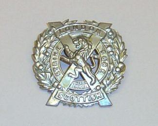 14th LONDON SCOTTISH white metal glengarry badge