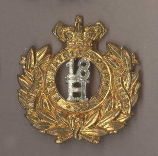 18th HUSSARS QVC 1898-1904 pat. bi-metal cap badge