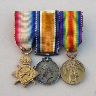 1914/15 Star, British War Medal, Victory medal trio, Miniature medals