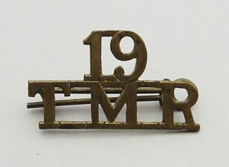 19th TRANSVAAL MOUNTED RIFLES brass s/t