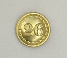 26th of FOOT 18mm OFFICERS GILT TUNIC BUTTON