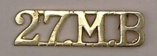 27 M.B cast brass shoulder title
