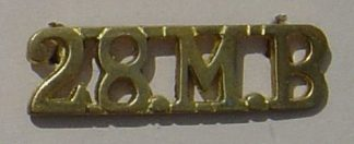 28th MOUNTAIN BATTERY cast brass shoulder title