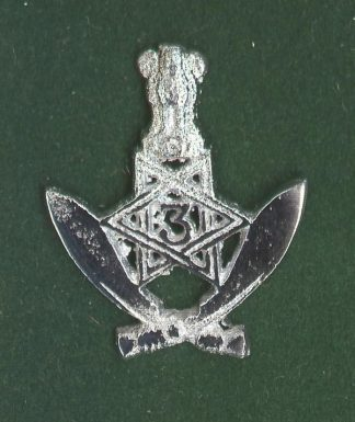 3rd GURKHA RIFLES O'R's 'nickel plated cap badge - India post 1947