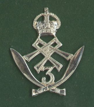 3rd GURKHA RIFLES - w/m Kings Crown Or's cap badge