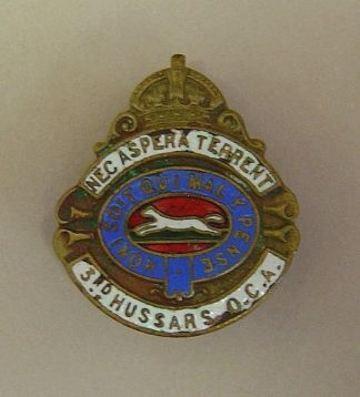 3rd HUSSARS  O.C.A. KC lapel badge