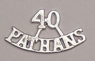 40th PATHANS two line cast brass plated shoulder