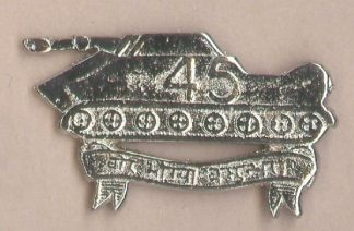 45 CAVALRY nickel plated cap badge
