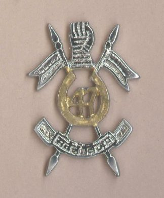 47th LANCERS nickel and brass cap badge