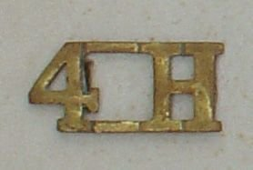 4H - 4th Hussars brass shoulder title