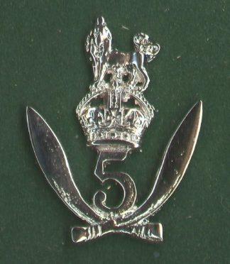 5th GURKHA RIFLES - large nickel plated OR's c/b