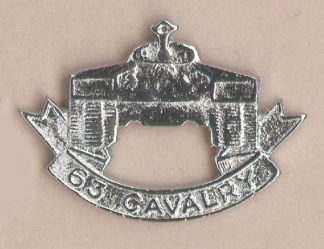 63rd CAVALRY nickel plated cap badge