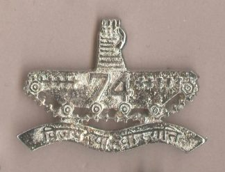 74th CAVALRY nickel plated cap badge