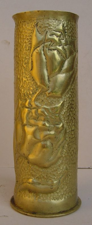 7.7 cm German Fired shell case 'Shield & Roses'