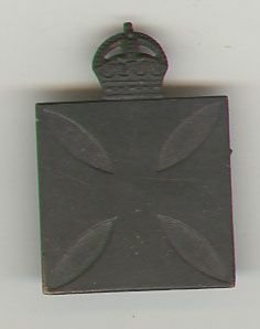CHAPLAINS DEPARTMENT WWI patten badge, black paint