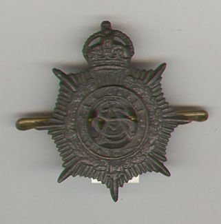 ARMY SERVICE CORPS KC bronzed O/R's cap badge