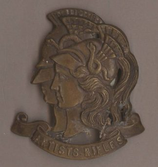ARTISTS RIFLES g/m WWI period cap badge with hook