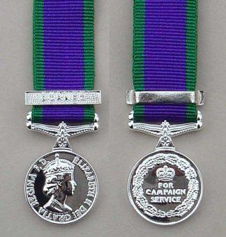 British miniature Campaign Service medal 1962 clasp 'Borneo'