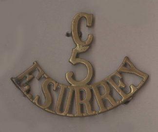 C-5-E.SURREY 3 - line brass shoulder title