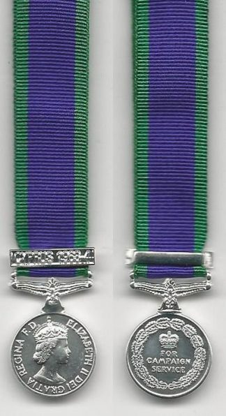 CAMPAIGN SERVICE MEDAL 1962 clasp 'CYPRUS 1963-64'