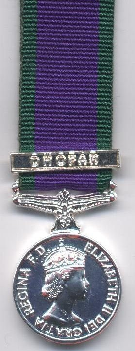 CAMPAIGN SERVICE MEDAL 1962 clasp 'DHOFAR'