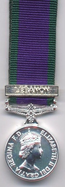 CAMPAIGN SERVICE MEDAL 1962 clasp, miniature medal Clasp LEBANON
