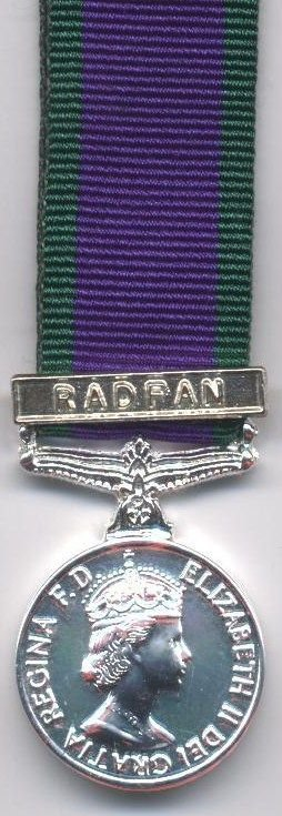 CAMPAIGN SERVICE MEDAL1962 clasp 'RADFAN'