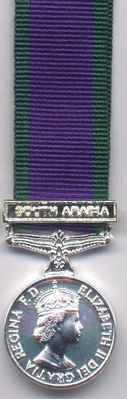 CAMPAIGN SERVICE MEDAL 1962 clasp 'SOUTH ARABIA'