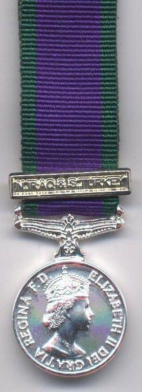 CAMPAIGN SERVICE MEDAL 1962 N. IRAQ & S. TURKEY