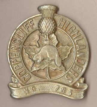 COPPERCLIFF HIGHLANDERS NO.765 w/m Glengarry badge