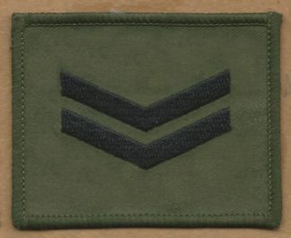 CORPORAL embroidered back on olive green patch