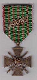 CROIX DE GUERRE WWI WITH PALME - 1914-17 Reverse