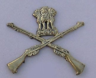 CROSSED RIFLES, ASHOKA'S LIONS above, 'MARKSMAN'