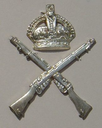 CROSSED RIFLES, KINGS CROWN above, 'Silver Plate'