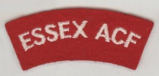 ESSEX A.C.F. S/T embroidered white on red curved cloth shoulder title