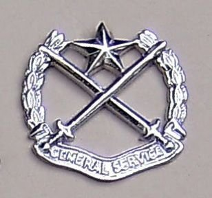 GENERAL SERVICE CORPS nickle plated cap badge