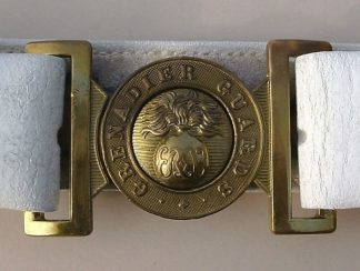 GRENADIER GUARDS White 'buff' leather belt & buckl