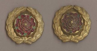 AMPSHIRE REGIMENT' gilt rose, red enamel, pair