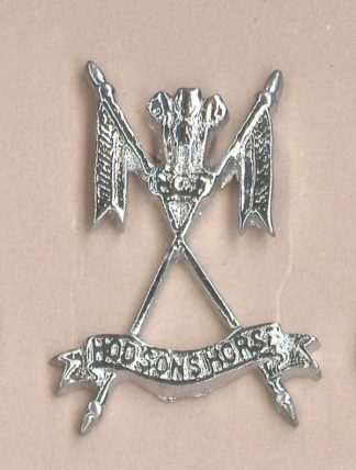HODSONS HORSE nickel plated cap badge
