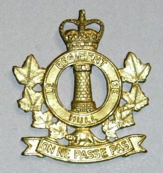 REGIMENT DE HULL QC g/m cap badge