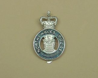 NORTH WALES POLICE QC chrome cap badge blue ring