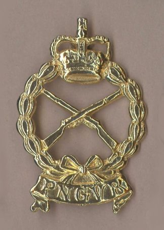 P N G V R QC cap badge gilt