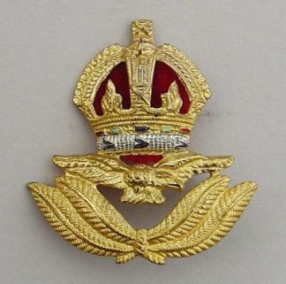 R.A.F. AIR OFFICER'S KC Cap Badge - WWII economy.