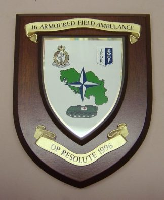 R.A.M.C. 16 ARMORED FIELD AMBULANCE - OP RESOLUTE wall plaque